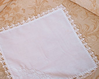 Wedding Gift for her Girlfriend Wedding Handkerchief Embroidered wedding custom hanky Bridal hankie Custom bridal gift White Lace