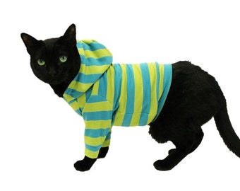 Cat Hoodie-Turquoise and Lime Striped Cat Hoodie-Cat Clothing-Cat Sweater-Clothes for Cats-Cat Hoodies-Cat Shirt-Cat Clothes-Sphynx Clothes