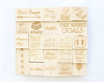 Planner Engraved Wood Rubber Stamp Set, Planner Stamps, Planner Stamp Set, Stamps for Planners, 22-pc. Stamp Set in 5x5 Acetate Box