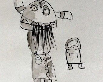 Ogre Kachina figure with child. Original drawing. Outsider art.