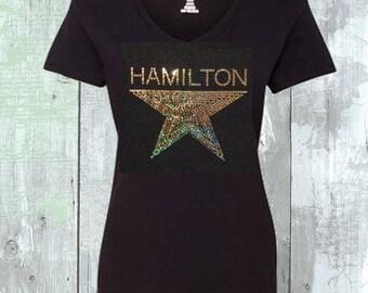 Hamilton The Musical Star Sequins Shirt Sizes Sm - 5XL