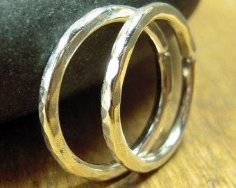 14 gauge hoops, sterling silver gauged hoops, 5/8 inch hoops, one pair, shiny or oxidized, 1.6 cm hoops.
