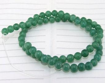 strand  Round Green Jade  Smooth Round Beads ----- 6mm ----- about 65Pieces ----- gemstone beads