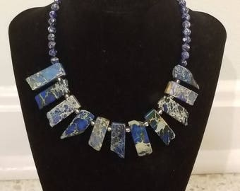 Blue Semiprecious Imperial Jasper Beaded Handmade Necklace