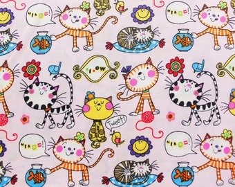 Japanese Fabric, Kawaii Fabric, Quilting Fabric, Cat, Fish,Bird, Great for Kids Clothing Sewing Crafting, Soft Pink, Extra Wide, Half Metre