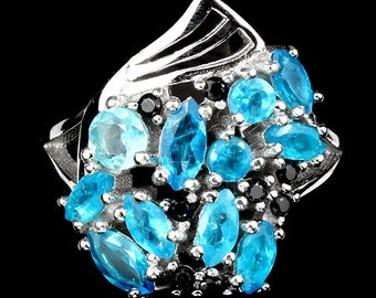 2.50ctw Neon Blue Apatite & Black Spinel Sterling Silver Ring Sz 6