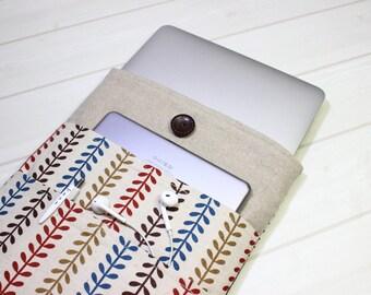 Macbook case, Macbook Air sleeve, laptop case, laptop sleeve, linen laptop case, laptop pouch, gift for her, Macbook Pro case, laptop cover