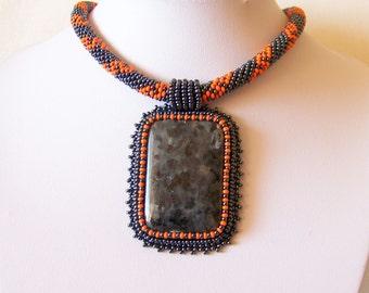 Bead Embroidery Necklace Pendant Beadwork with Larvikite - THE LEGEND - Fall Fashion - hematite - orange - black