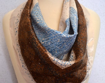 Retro Brown Blue and Blush Vintage Square Scarf