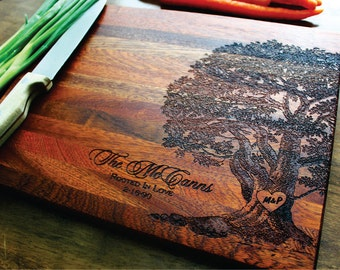 Engraved Cutting Board, Personalized Family Tree, Christmas Gift, Gift For Her, Wedding, Anniversary, Housewarming Gift, Engagement Gift