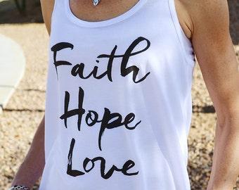 Christian Tank Top for Women // Faith Hope Love // Christian Shirts Women // Ultra-Soft Women's Racerback Tank Top White