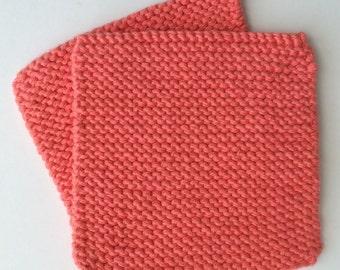 Hand Knit Pot Holders - Set of 2 - Hot Pads - Tangerine