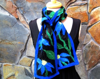 Blue coneflowers on black silk chiffon, nuno felt scarf
