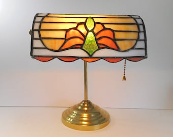 Stained Glass Banker's Lamp  Desk Lamp