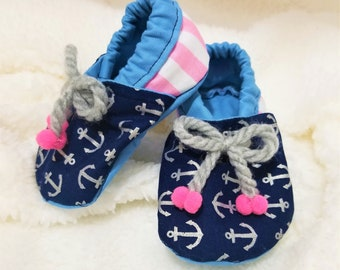 Nautical Anchor Baby Booties/Shoes-FREE SHIPPING