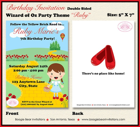 Wizard of Oz Birthday Party Invitation Dorothy Red Shoes Girl