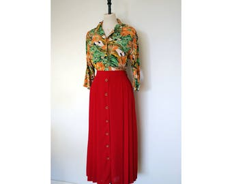 Vintage Red 80s Pleated Long Skirt, Size 12