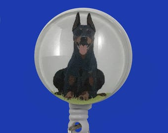 Art Deco Doberman badge reel - alligator swivel clip