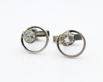 Vintage Circle and Rhinestone Cufflinks in Sterling Silver. [8631]
