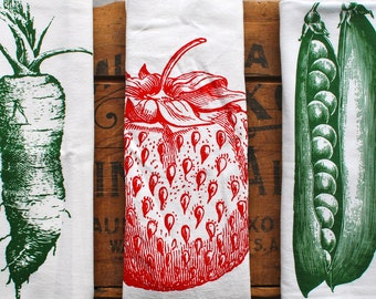 Flour sack towels: Eat your fruits & veggies