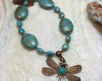 Dragonfly and turquoise necklace