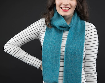 Sea Blue Lambswool knitted skinny scarf