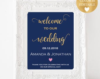 Welcome Wedding Printable - Welcome To Our Wedding Sign - Wedding Poster Board - Navy and Gold Wedding Sign - Downloadable wedding #WDH55GS