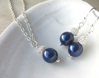 Bridesmaid Jewelry Navy Blue Pearl Bride or Bridesmaid Gift Sets Necklaces and Earrings for your Wedding Day