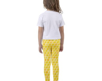 Honeycomb | Yellow & White Kids Leggings