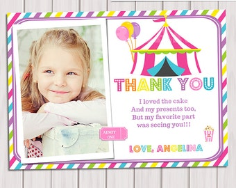 View thank you card note by thepartytown on etsy carnival thank you card circus thank you note carnival birthday party circus birthday party bookmarktalkfo Gallery