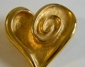 Large Brushed Gold Tone Heart Pin Brooch