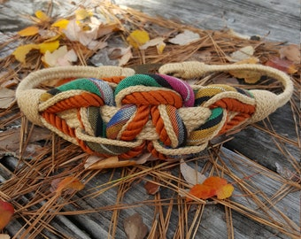 Vintage Braided Belt - Braided Rope Belt - Multicolored - Retro 1970s 1960s