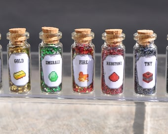 Set of 15 Medium Gaming Minecraft Potions and Potion Ingredients