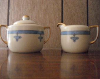 Nippon Vintage Creamer and Lidded Sugar Bowl with Gold Trim Hand Painted