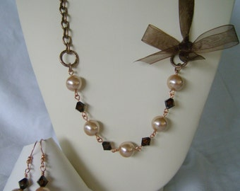 Pearl Crystal Ribbon Chain Bronze Tara Necklace Bridesmaid Wedding Jewelry