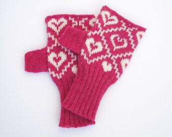 Pink Heart Nordic Knitted Fairisle Hand Warmers
