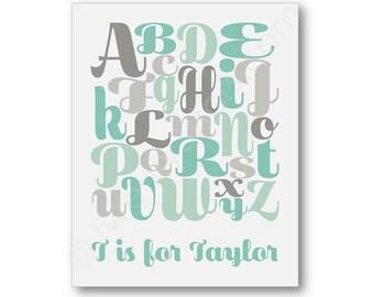 Alphabet Script Poster, ABC Nursery Art, Girl's Nursery Art in Pink, ABC Name Art, Custom ABC Art Print, Personalized Alphabet Canvas