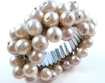 Vintage,  Chunky,  Faux Pearl,  Empire Made,  Expanding Bracelet.