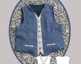 Men's Two Tone Waistcoat Sewing Pattern