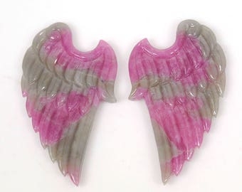 48.55cts 100% Natural Ruby Untreated Hand Carved Angel Wings Gemstone 26*42mm Pair For Earrings