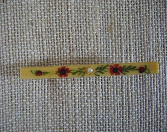 Handpainted Bar Pin - Flower Pin Brooch - Vintage Flower Pin