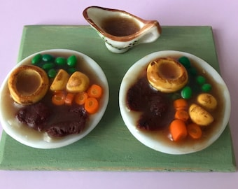 Dolls House 12th scale miniature food ~ Roast beef dinner for two with gravy boat