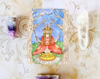 Fantasy Art Pagan Art Print The Volva Prayer Card Norse Art Mythological Spiritual Art Divine Feminine Sacred Nordic Priestess Goddess Altar
