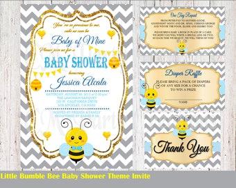 Bumble Bee Baby Shower Invitation, Custom Invitation