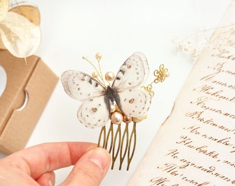 ivory wedding comb ivory bridal hair comb pearl hair comb ivory bridal hair accessory bridal butterfly jewelry butterfly comb gold flower
