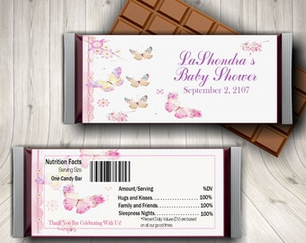 Butterfly Baby Shower, Candy Bar Wrapper, Butterfly Theme, Butterfly Wedding, Butterfly Birthday, Butterfly Favor, Baby Due Date, Printable