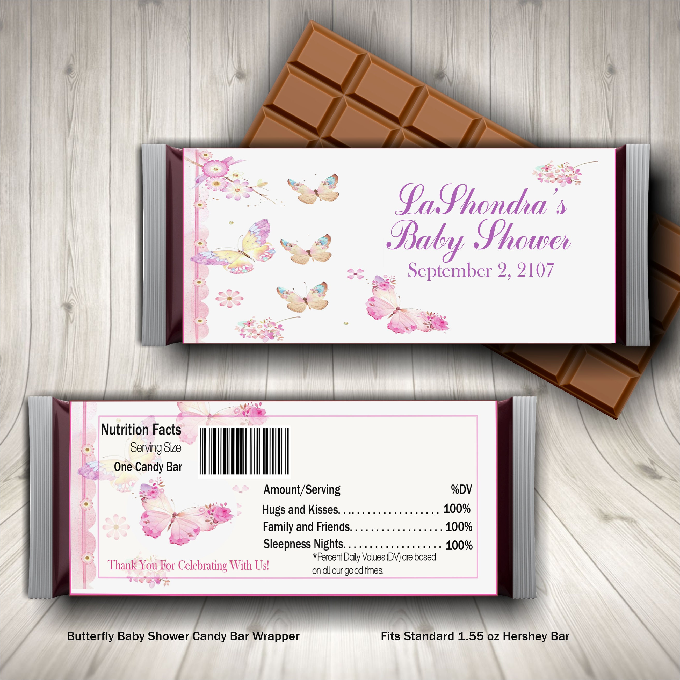 butterfly baby shower candy bar wrapper girl baby shower