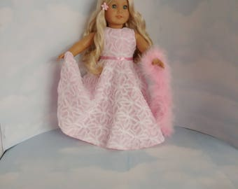 18 inch doll clothes - #255 Pink and White Gown with Boa - FREE SHIPPING USA