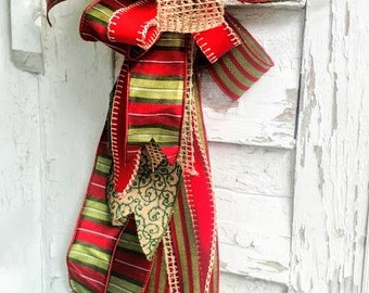 Christmas Bow, Christmas Wreath Bow, Christmas Tree Topper