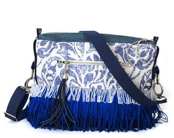 Crossbody bag blue white with fringe OOAK bags, boho chic style, leather, canvas, linen fabric flower print - handmade unique shoulder bags